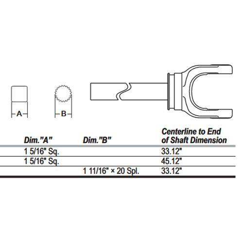 44 series yoke and shaft, 1 5/16 square