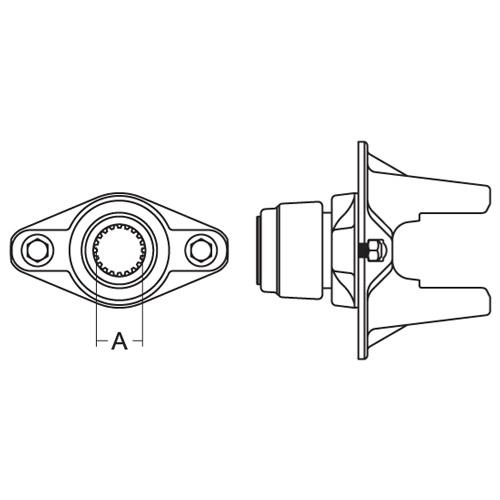 AB5 series ball shear clutch yoke with 1 3/4-20 spline bore and safety slide lock connection